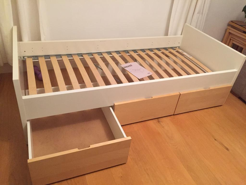 Ikea Brekke Single Bed Frame With Three Wheeled Underbed Storage Drawers