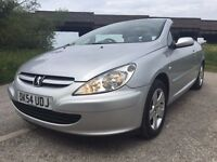 EXCELLENT CONDITION 2004 54 PEUGEOT 307CC,FULL SERVICE HISTORY,MOT SEP 2017,FULL LEATHER INTERIOR