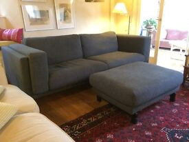 IKEA Nockeby Three-seat sofa & Footstool - Tenö dark grey/wood