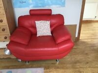 Lovely red arm chair - large & comfortable