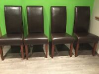 4 x Chocolate Brown Genuine Leather Dining Chairs