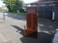 Great Rare Oak Seated Hall Stand 1930's Era