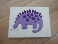 Appliquee / textile picture of dinosaur - child's room/ nursery decoration - as new - ideal present