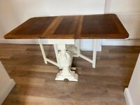 Antique Shabby Chic Painted Folding Drop Leaf Dining Table with Wooden Tabletop