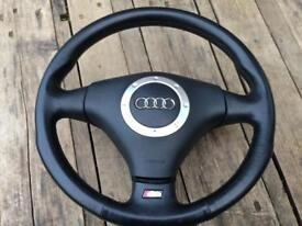 Audi S3 8L Black Leather Steering Wheel Genuine OEM