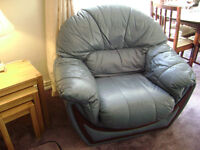 Three Piece Leather Suite in Mid Blue - Very Good Condition