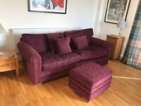 Nearly new Parker Knoll 3 seater sofa and foot stool