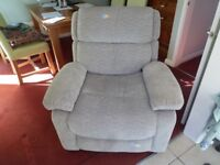 Reno Power Reclining Fabric Armchair in Pacific Silver,