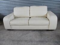 Luxury Cream Leather 3-seater Sofa (Suite) with matching Armchair