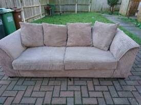 Mink Jumbo Cord 3 Seater Sofa, DELIVERY AVAILABLE