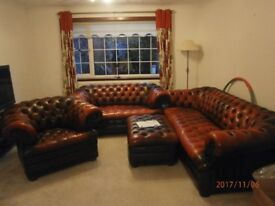 Red LeatherChesterfield Suite