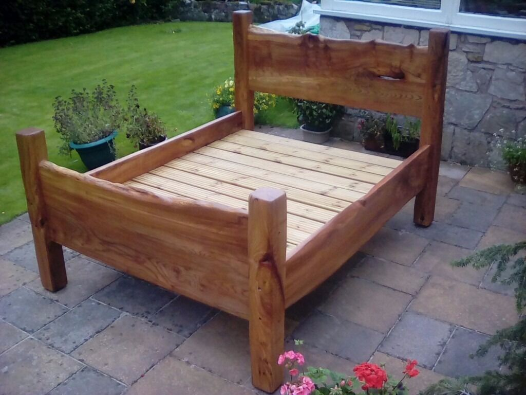 Unique funky chunky king size bed solid wood scottish elm for Unusual wooden beds