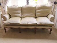 Beautiful pair of antique cream velvet sofas