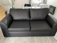 Black faux leather 3+2 seater sofa bargain £399