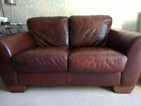 Italian real leather brown 2 seater sofa and armchair
