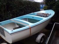 Day boat with seats engine, steering and controls on snipe trailer, was a Windermere cruiser