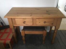 Pine dresser and stool