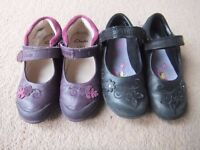 Clarks girl school shoe size 8F and Clarks purple leather shoe 8F