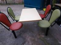 2 Industrial Dining Canteen fast food table and chairs furniture