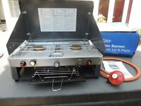 Gelert Gas Camping Stove - with 2 gas burners and grill