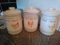 Hen House Tea Coffee and Sugar Canisters