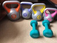Kettlebells and dumbbells (mint condition) weights for sale