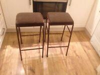2x retro metal upholstered bar stools