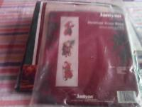 New counted cross stitch kit -Antique Santa Bell Pull-showing 3 old fashioned santas.