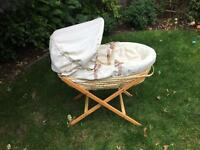 Beautiful mamas and papas Moses basket with stand