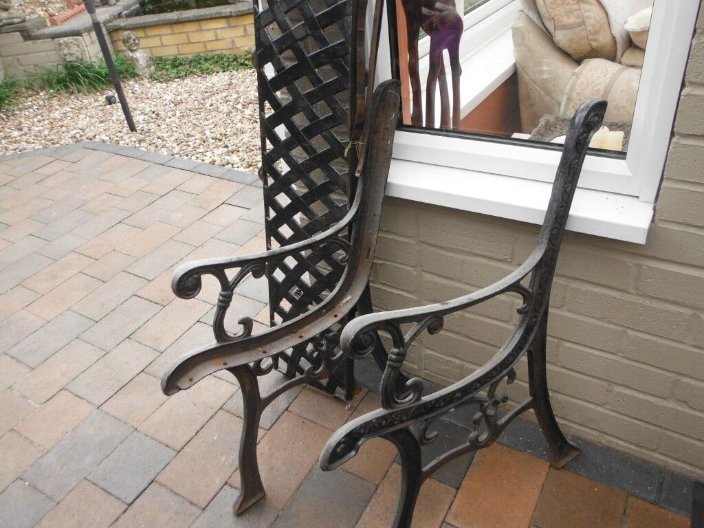 Old Garden Bench Iron Sides And Back Requires Wooden Slats
