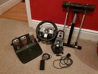 Logitech G27 + Wheel Stand with all required wires can come with grand turismo 6