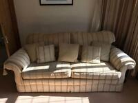 Cream striped sofa & footstool great condition