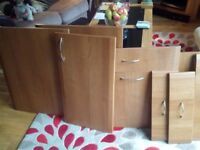 Kitchen cabinet doors and drawer fronts, with handles. Bought from B&Q. Light oak