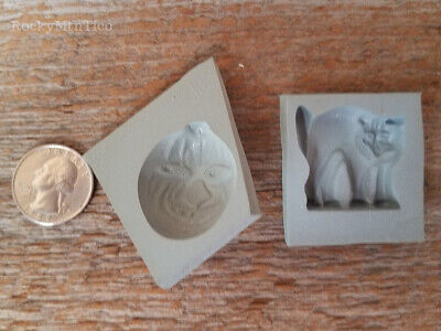 2~HALLOWEEN RUBBER MINT MOLDS~CAT/PUMPKIN~candy party silicone grey cream cheese Rubber Mint Mold