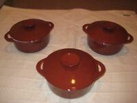 2 Same Size Brown Cast Iron Cooking Pots: 20 cm diameter - £20.00 each