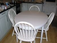 dining table n four chairs, in off white farrow n ball paint, extendable,large
