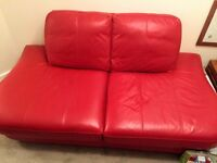 Red Leather 2 Seater Settee - Excellent Condition