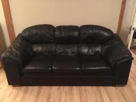 Black leather suite (3 seater, chair and footstool)