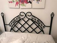 Black metal double headboard - reduced price.