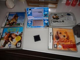 Nintendo ds lite and 3 games plus card with around 30 games on, carry case and charger