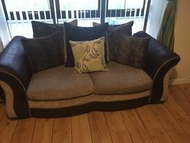 Brown fabric sofa 3 & 4 seater