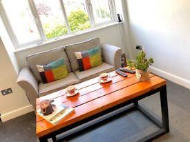 Handmade farmhouse, industrial wooden coffee table