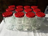 A Dozen (12) Jam Jars with Red Spotty Lids All in VGC - cash on collection from Gosport Hampshire