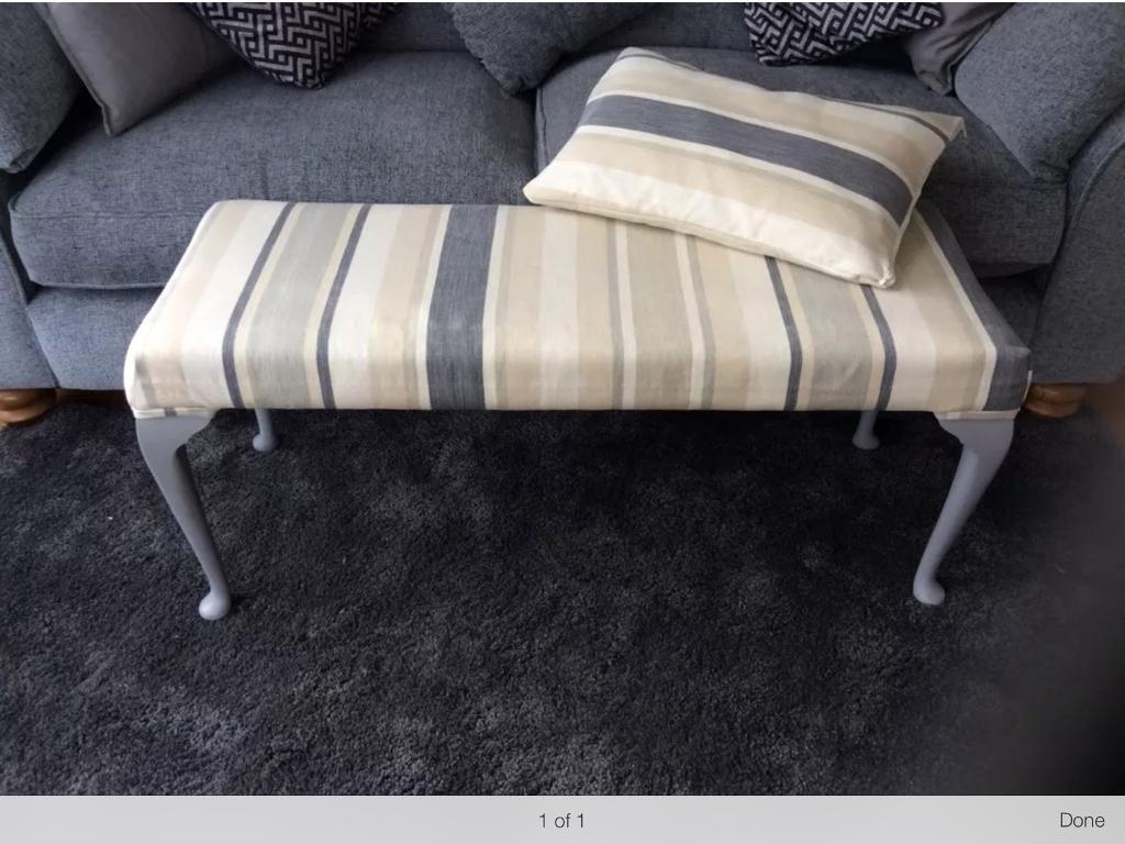 Marvelous Lovely Upcycled Upholstered Bench Seat In Laura Ashley Grey Awning Fabric In Tetbury Gloucestershire Gumtree Uwap Interior Chair Design Uwaporg