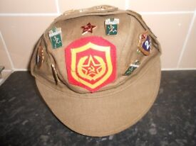 RUSSIAN MILITARY OFFICER CAP WITH METAL & CLOTH BADGES