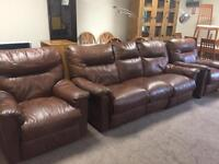 3-1-1 Brown Leather Recliner Suite