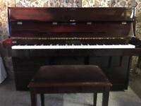 Waldstein Modern Compact Upright Piano - Dark Mahogany- free local delivery