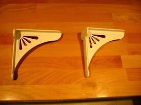 White enamel shelf brackets