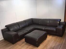 Beautiful Brown real leather corner sofa and puff with free delivery within 10 miles