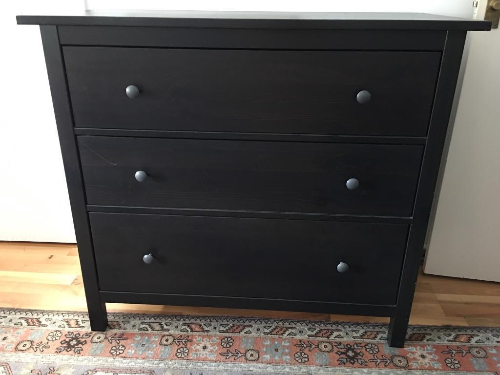 Ikea Hemnes Black Brown Chest Of 3 Drawers
